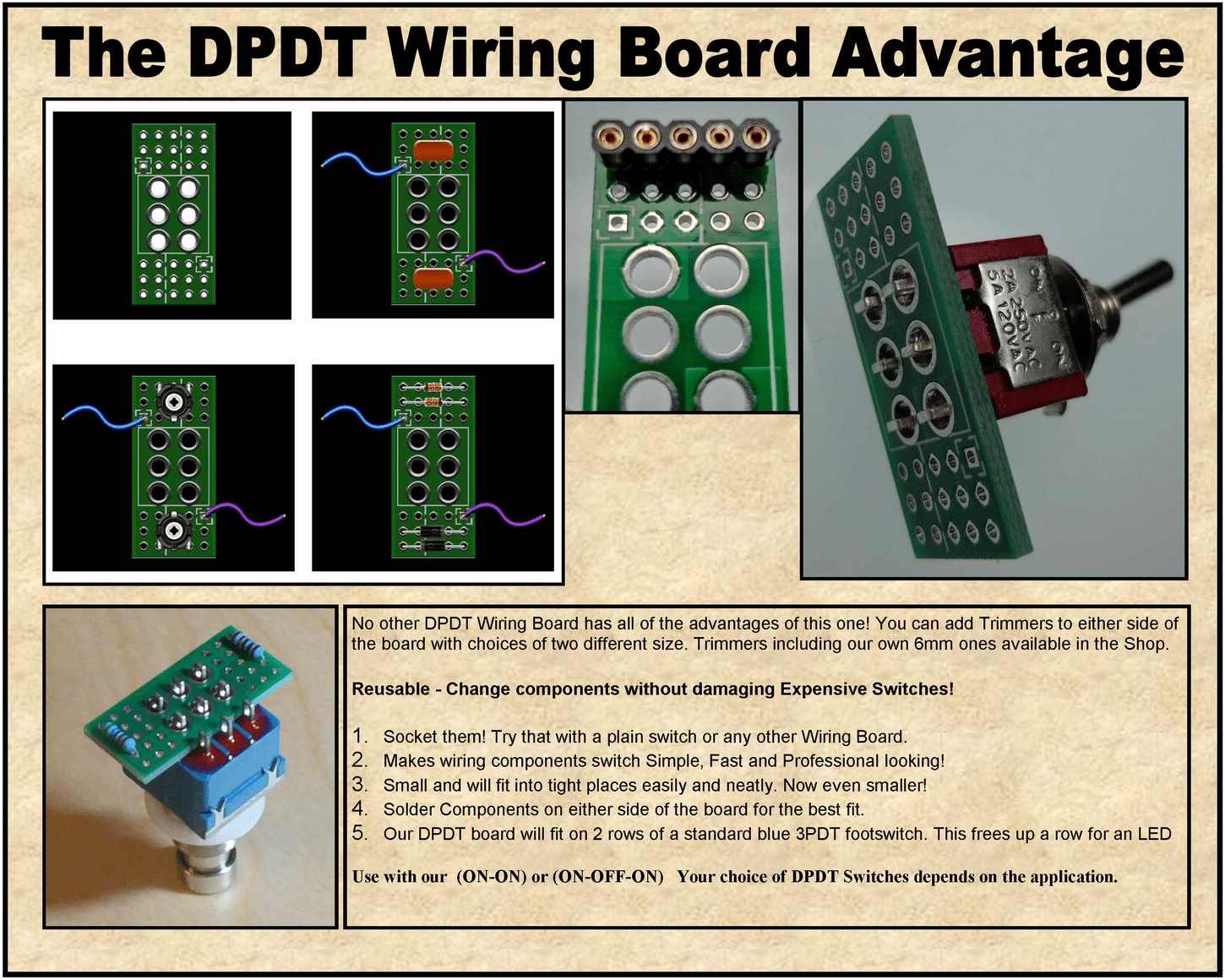* DPDT - Wiring Board - Easy Mod Wiring for switches With Wiring Board on