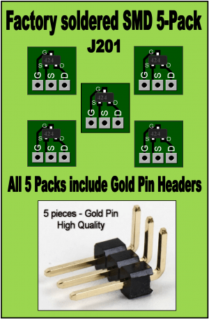 "* J201 ""Factory Soldered"" Converter Board 5-Pack w/ Gold Pin Headers"