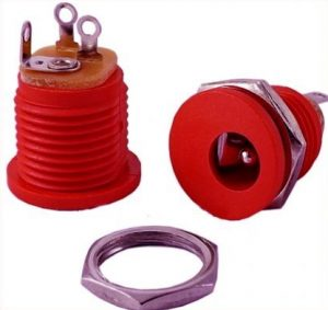 DC Power Jack RED, 2.1 mm Round – Metal External Nut (Price is for 1 Piece)