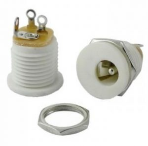 DC Power Jack WHITE, 2.1 mm Round – Metal External Nut (Price is for 1 Piece)